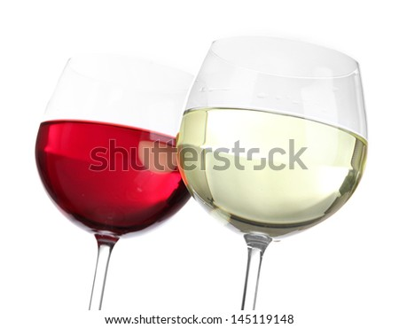 Glasses of wine close-up isolated on white