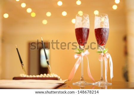 glasses of wine in a registry office - stock photo