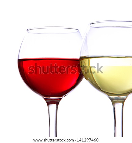 Glasses of wine isolated on white