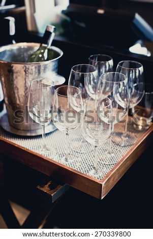 Glasses of wine on Table in restaurant - stock photo