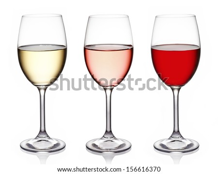 Glasses of wine on white background