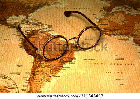 Glasses on a map of a world - Brazil