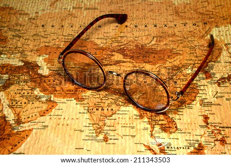 Glasses on a map of a world - China
