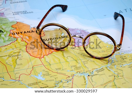 Glasses on a map - Suriname