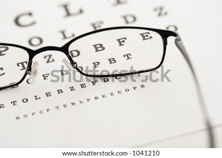Glasses on a test chart