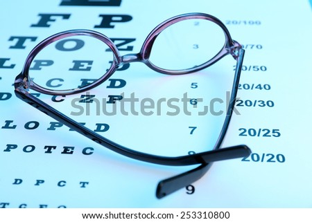 Glasses on eye chart close-up - stock photo