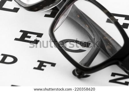 Glasses on opticians chart - stock photo