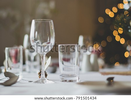 Glasses on table at wedding