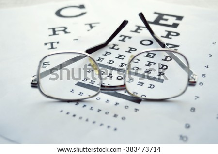 Glasses on test chart.Eye chart  extreme closeup.Eyes Examination, glasses diopter check up