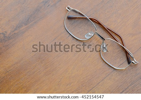 Glasses on the background of wood.