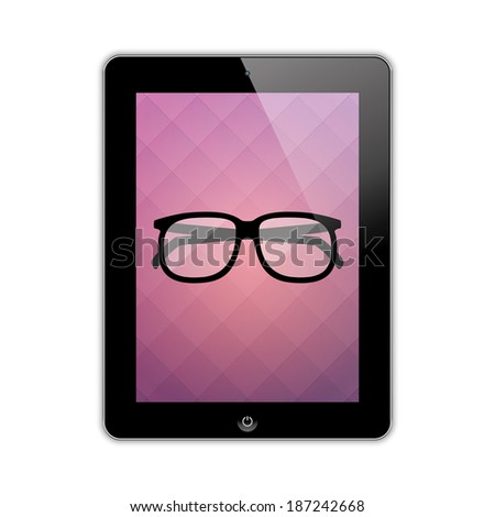 glasses on the screen tablet.(rasterized version) - stock photo