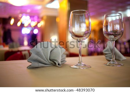 Glasses on the table in a restaurant