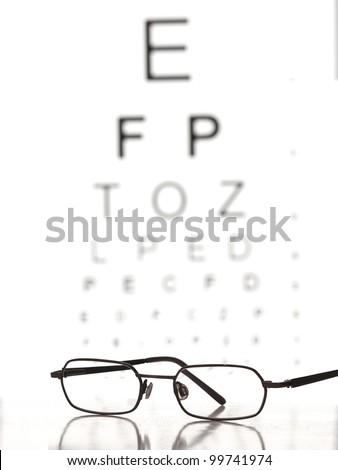 Glasses on the table with eye test chart in the background,for Distance Vision Test themes - stock photo