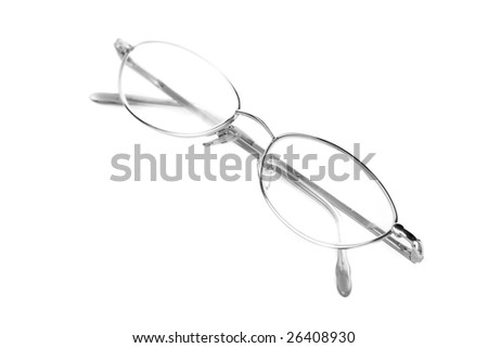 Glasses on white with reflection