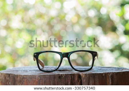 glasses on wooden