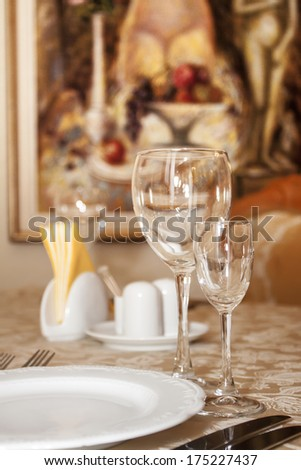 glasses, plate and cutlery