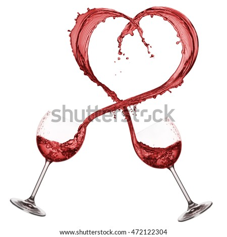 glasses pouring red wine that forming a heart shape, isolated on white