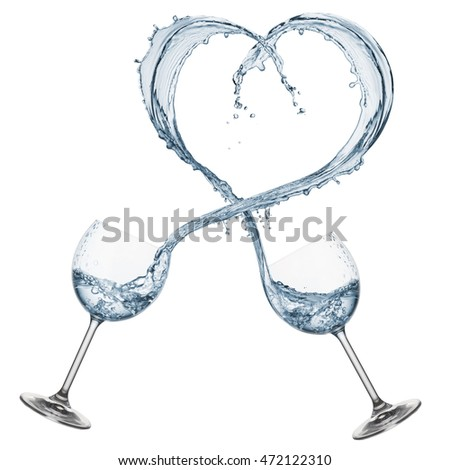glasses pouring water that forming a heart shape, isolated on white