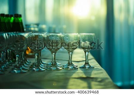 glasses restaurant, wedding - stock photo