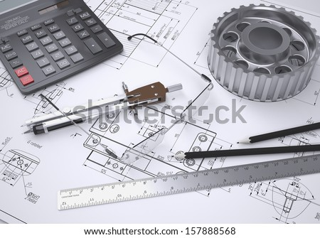 Glasses, ruler, compass, calculator and gear lie on the drawing. 3d render