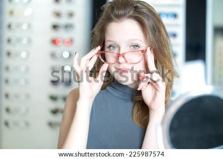 glasses store - stock photo