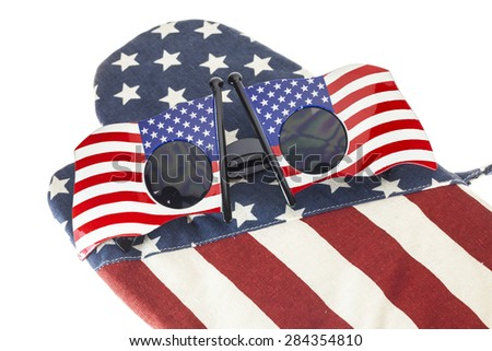 Glasses stripes American flag On white background
