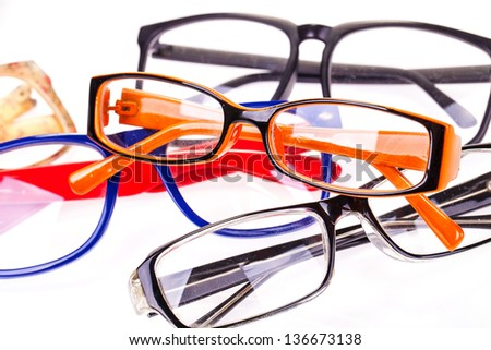 Glasses white background with a macro lens. - stock photo