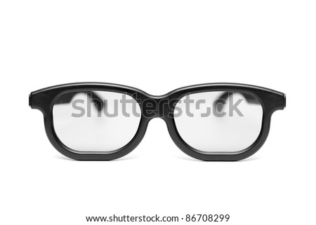glasses with a black frame on the white