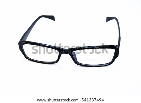Glasses with a black rim. Business style glasses on a white background