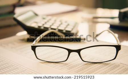 glasses with accounting concept