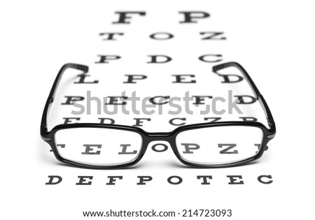 Glasses with an eye chart