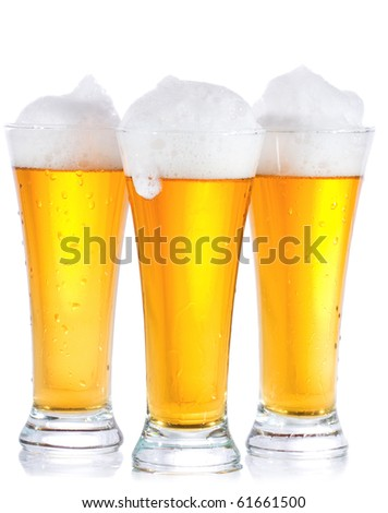 glasses with beer on white background