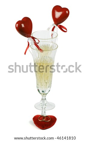 Glasses with champagne for the enamoured - stock photo