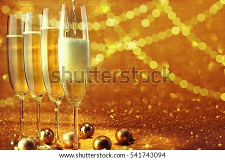 Glasses with champagne. New Year.