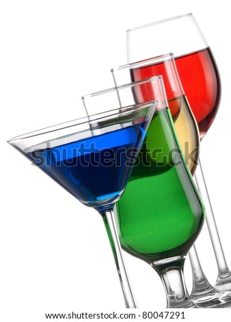 Glasses with color liquids diagonal