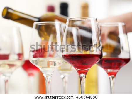 Glasses with different kind of wine - stock photo