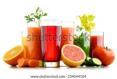 Glasses with fresh organic vegetable and fruit juices isolated on white. Detox diet - stock photo