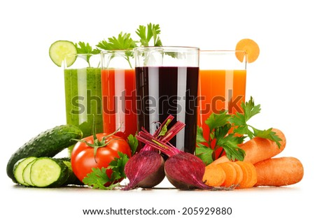 Glasses with fresh vegetable juices isolated on white. Detox diet. - stock photo