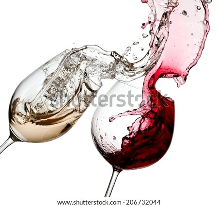 Glasses with red and white wine splash