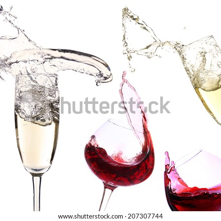 Glasses with red wine and champagne, isolated on white - stock photo