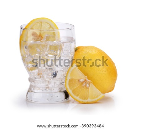 glasses with soda water and lemon slices