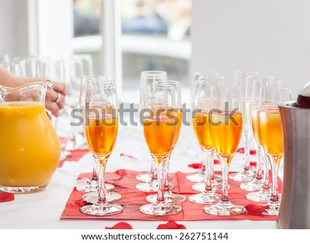 Glasses with sparkling wine - stock photo