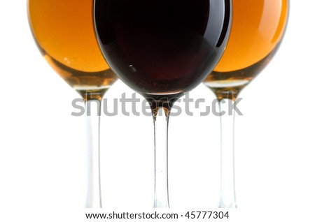 Glasses with white and red wine on a white background