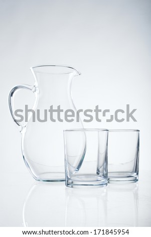 Glassware containers on white