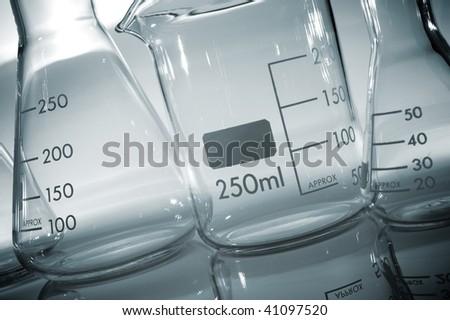 glassware detail in a laboratory - stock photo
