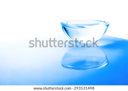 Glassware. Empty bowl  on the table on a white background. in Light blue.