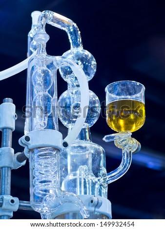 glassware in chemical laboratory - stock photo