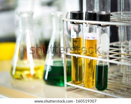 Glassware with chemical liquid in laboratory