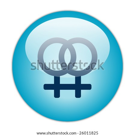 Glassy Blue Lesbian Icon - stock photo