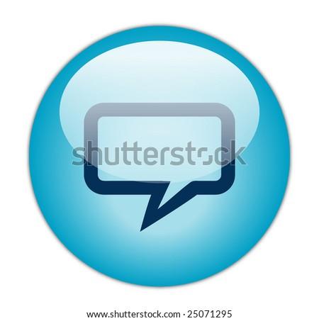 Glassy Blue Rectangular Chat Icon - stock photo